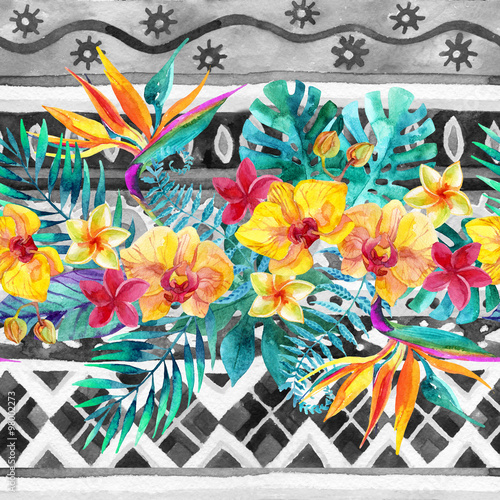 Tropical leaves and flowers on ornamental background. Floral design background. - 98002273