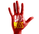 Bad Boss written on hand isolated on white background