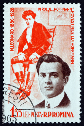 Poster Postage stamp Romania 1964 Nicolae Leonard, Operatic Tenor