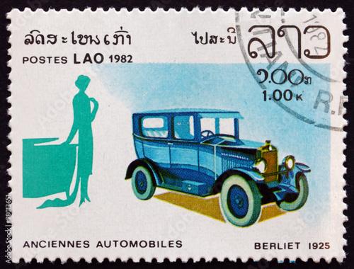 Poster Postage stamp Laos 1982 Berliet 1925