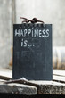 Happiness is ... Hand lettering on a black plate.