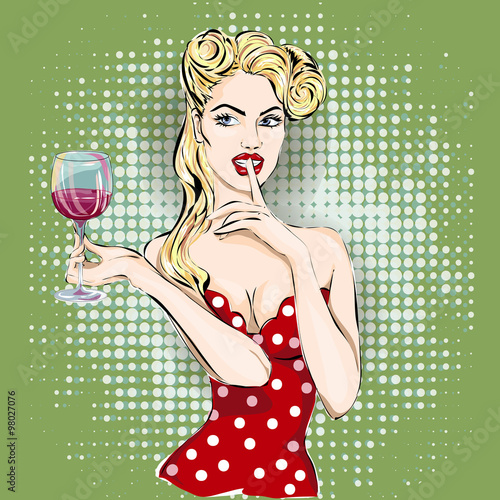 obraz lub plakat Shhh pop art woman face with finger on her lips and glass of wine