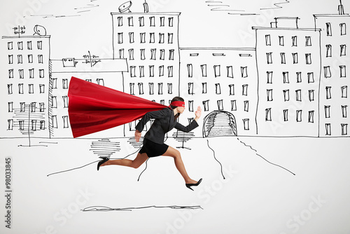 Poster businesswoman wearing like superhero very fast running in drawed