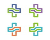 Colorful Healthcare Clinic and Hospital Cross Logo Template