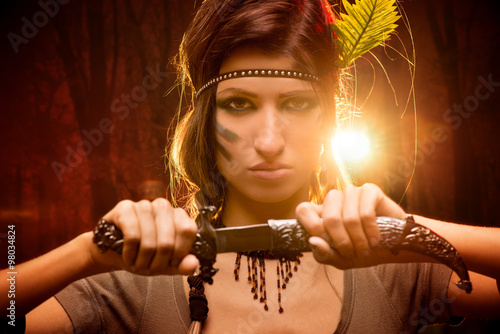 Poster Warrior Woman With Combat Knife