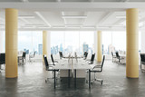 Fototapety Modern open space loft office with concrete floor, big windows a