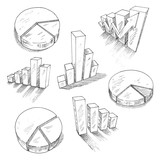 Fototapety Business charts anf graphs with 3D sketch icons