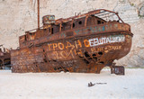Closeup of the famous shipwreck on Navagio Beach