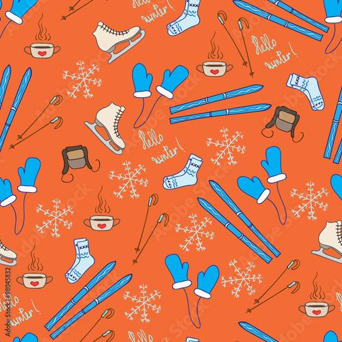 Cotton fabric Vector winter pattern