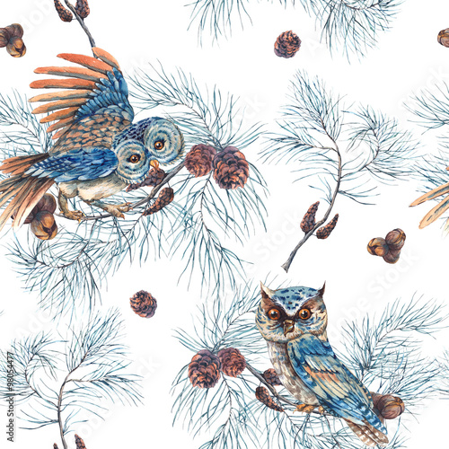 Watercolor Seamless Pattern with Owls - 98054477