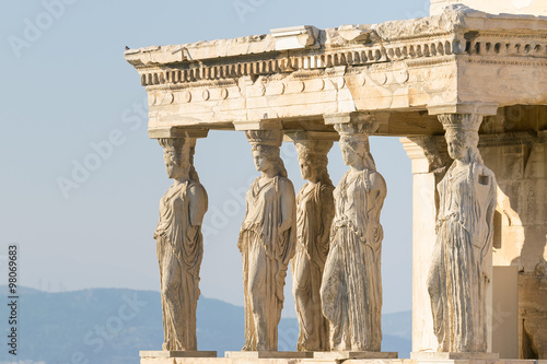 Staande foto Athene Caryatids statues at Acropolis in Greece.