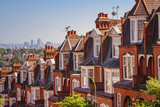 Typical British brick houses on a sunny afternoon panoramic shot from Muswell Hill, London, UK