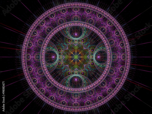 Abstract digitally generated image purple disk - 98083671