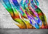 abstract colorful graffiti on brick wall