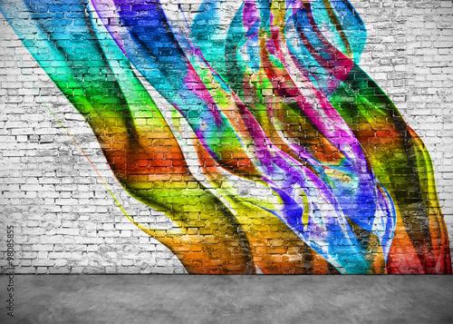 Papiers peints Graffiti abstract colorful graffiti on brick wall