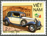 VIETNAM - 1985: shows Bugatti, 1930, series Vintage Italian cars