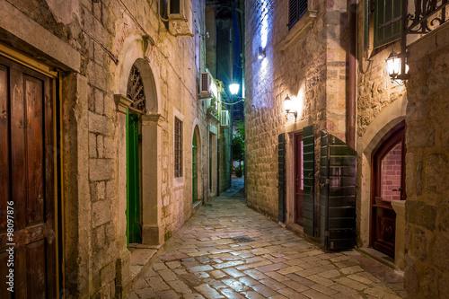 obraz lub plakat Kotor historical town narrow street