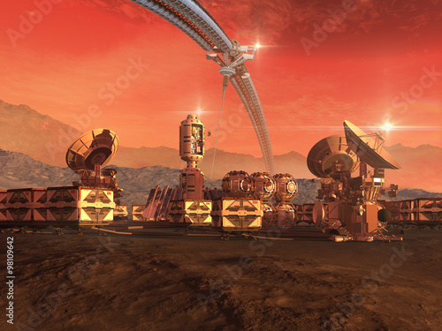 Foto op Aluminium Kosmos Mars like red planet with a sky structure, research modules, observation pods and communication satellite dishes for science fiction backgrounds