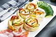 Obrazy na płótnie, fototapety, zdjęcia, fotoobrazy drukowane : roses puff pastry with zucchini and bacon
