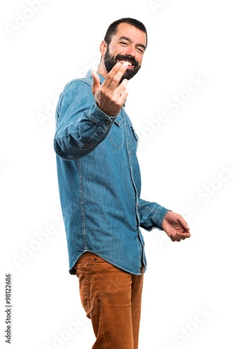 Man coming gesture Poster