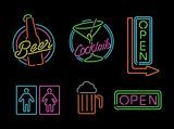 Fototapety Neon light sign set icon retro bar beer open label