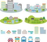 都市や住宅街、農村のイメージのセット