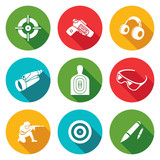 Shooting gallery Icons Set. Vector Illustration.