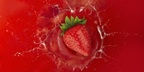 Fototapety strawberry splash into red juice liquid
