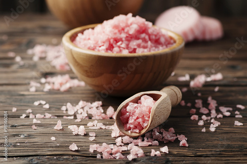 Plakát, Obraz Concept of spa treatment with pink salt