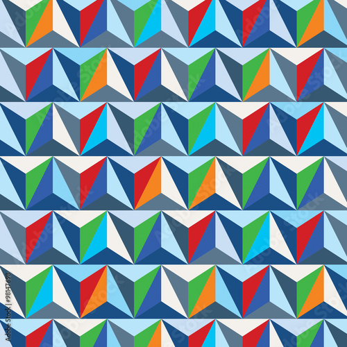 Colorful 3d spatial lattice covering, complicated op art backgro - 98147698