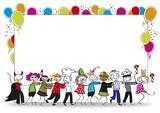 Karnevalsparty - Tanzende Gruppe vor Plakat