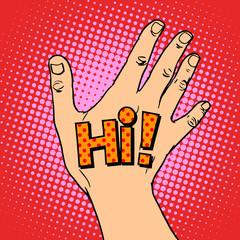 Human hand greeting hi