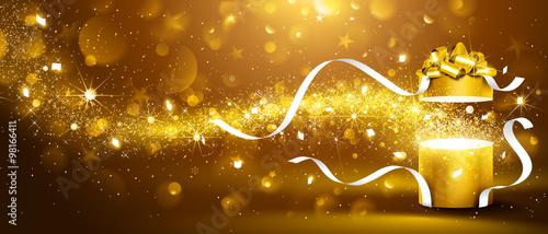 Golden box with stars and confetti