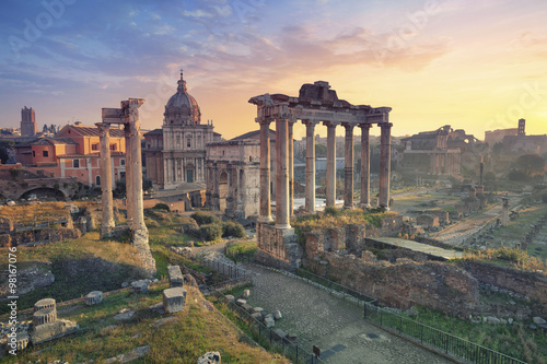 Poster Roman Forum. Image of Roman Forum in Rome, Italy during sunrise.