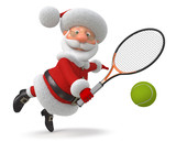 3d Santa Claus plays tennis