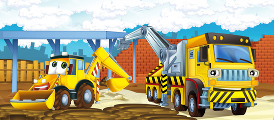 Cartoon truck and excavator - illustration for the children