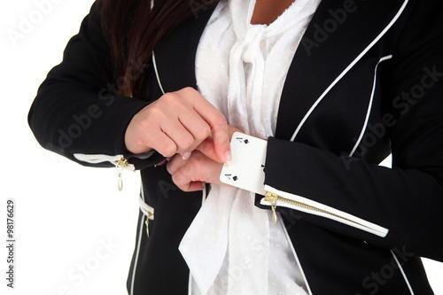 Poster Geschäftsfrau mit Ass im Ärmel