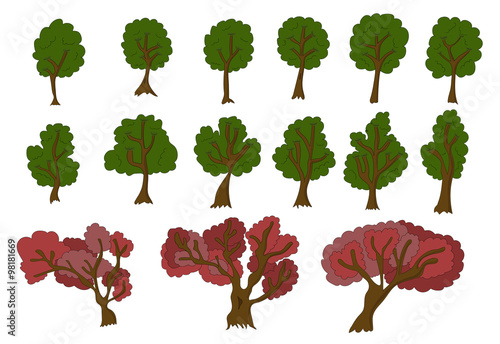Poster Vecor set of 2d trees for game design.