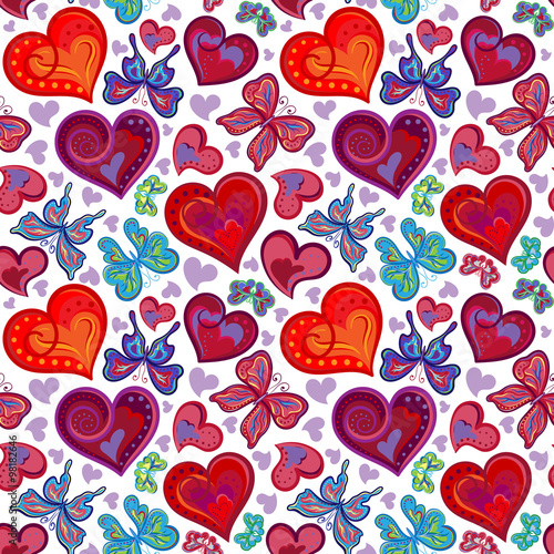 Cotton fabric Seamless valentine pattern with colorful vintage red and blue butterflies, flowers, hearts. Vector illustration