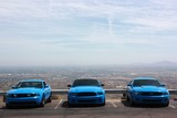 Blue cars view to Phoenix from South Mountain Park, USA
