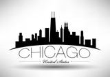 Vector Chicago Skyline Design with Typography