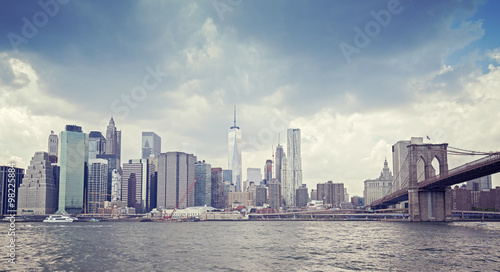 Vintage toned picture of New York waterfront before rain.