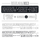 Hand drawn narrow alphabet. Uppercase tall and thin letters and symbols isolated on white background. Handdrawn typography. Narrow doodle font. Light and bold condensed type.