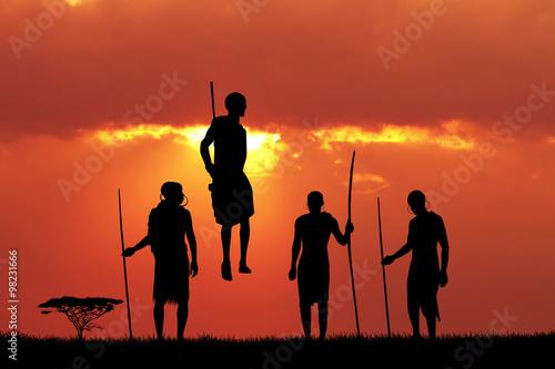 Foto op Canvas Baksteen Masai dance at sunset