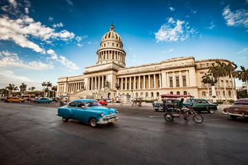 HAVANA, CUBA - JUNE 7, 2011: Old classic American car rides in f