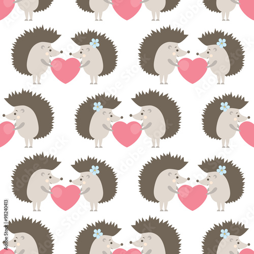 Cotton fabric vector seamless pattern with hedgehogs in love