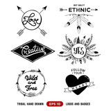 Hand drawn tribal design vector elements. Aztec logos and badges. Arrow wreath. Feather and arrows frame.