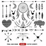 Fototapety Hand drawn vector tribal elements. Aztec logos and badges.