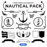Vector pack of nautical elements. Rope swirls, logos and badges.