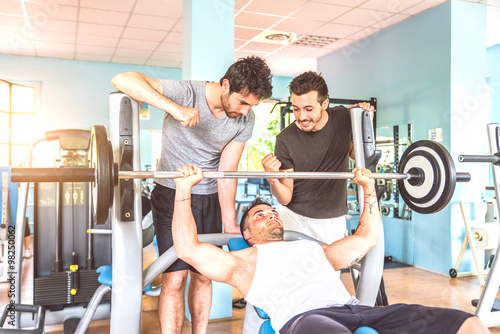 Friends training in a gym Poster